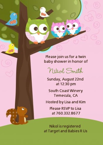 Owl look whooos having twin girls baby shower invitations owl look whooos having twin girls baby shower invitations filmwisefo