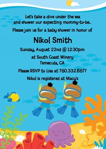 Under the Sea African American Baby Boy Twins Snorkeling - Baby Shower Invitations