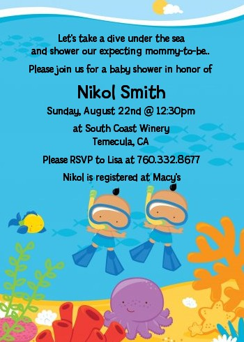 Under the Sea Hispanic Baby Boy Twins Snorkeling - Baby Shower Invitations