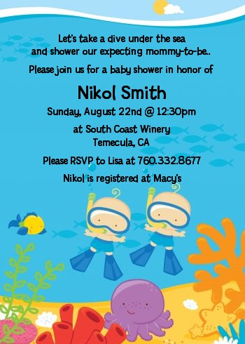 Under The Sea Baby Twin Boys Snorkeling   Baby Shower Invitations