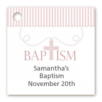 Cross Pink Necklace - Personalized Baptism / Christening Card Stock Favor Tags