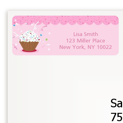 Cupcake Girl - Birthday Party Return Address Labels