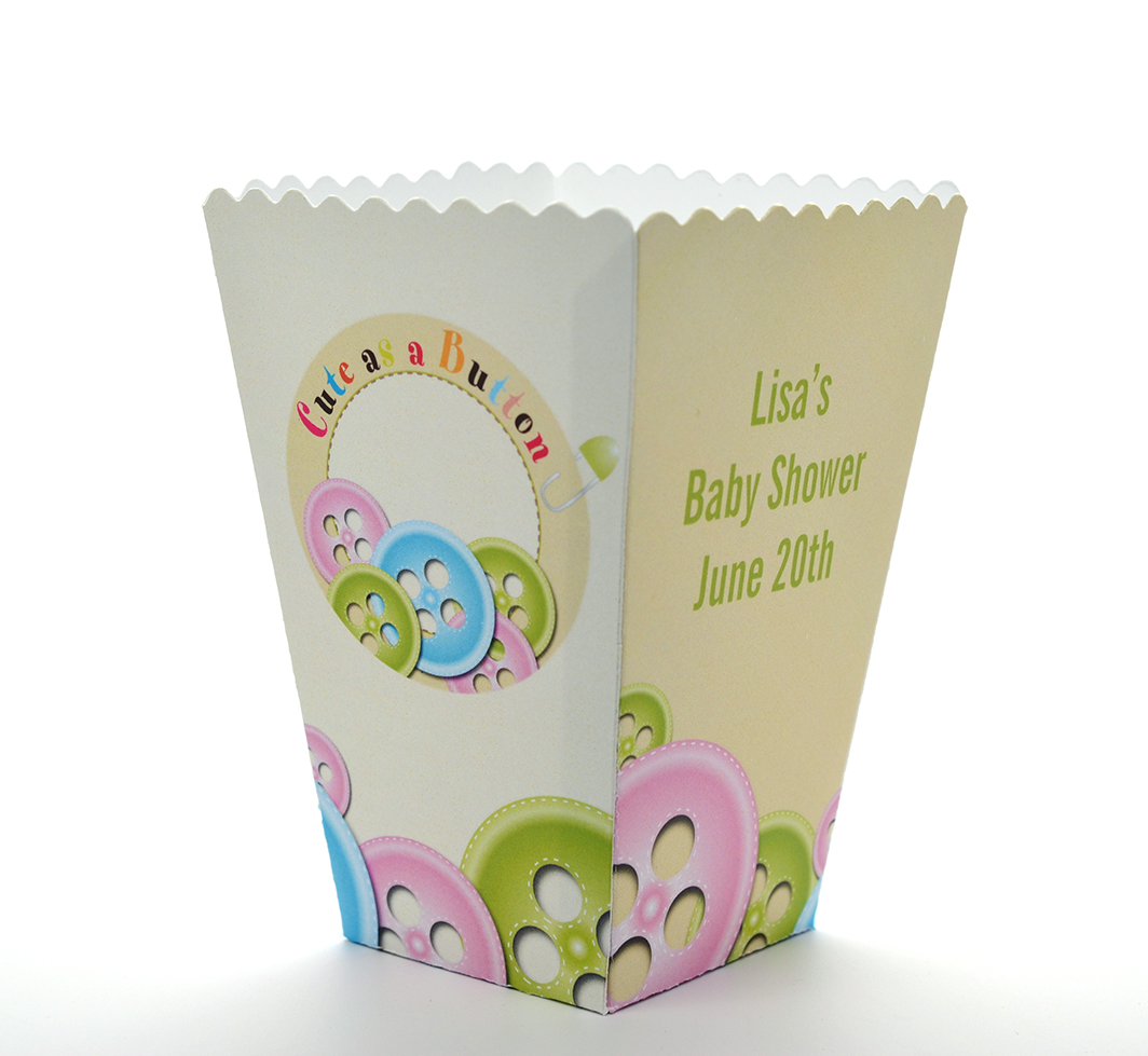 cute as a button baby shower popcorn boxes