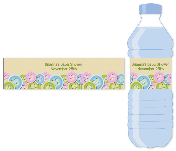 ... As a Button Water Bottle Label | Baby Shower Water Bottle Stickers