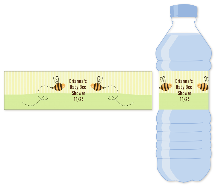 cute as can bee water bottle label