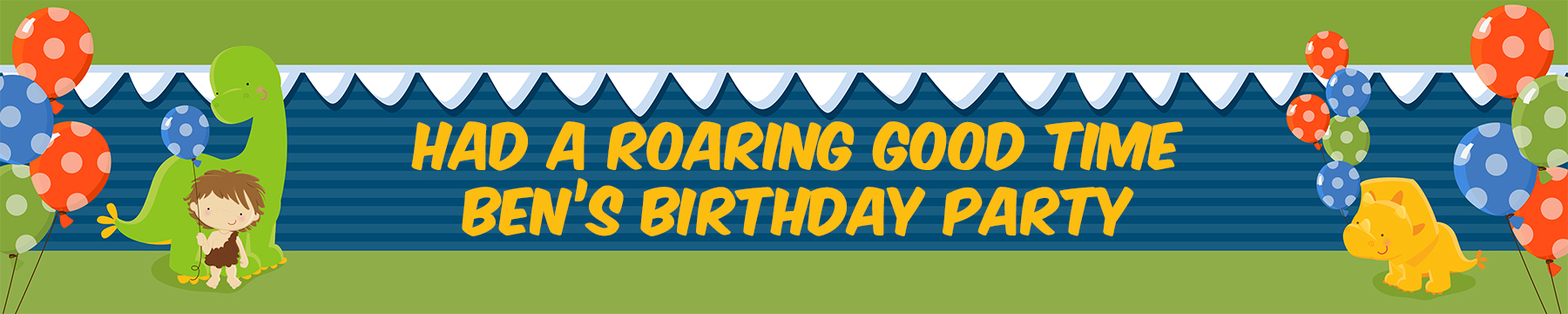 Dinosaur and Caveman - Personalized Birthday Party Banners thumbnail