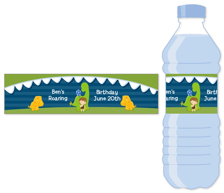 Dinosaur And Caveman Water Bottle Label Birthday Party