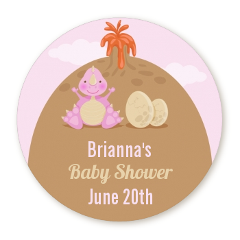 Dinosaur Baby Girl - Round Personalized Baby Shower Sticker Labels