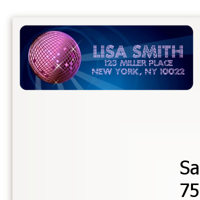 Disco Ball - Birthday Party Return Address Labels