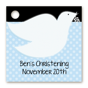 Dove Blue - Personalized Baptism / Christening Card Stock Favor Tags