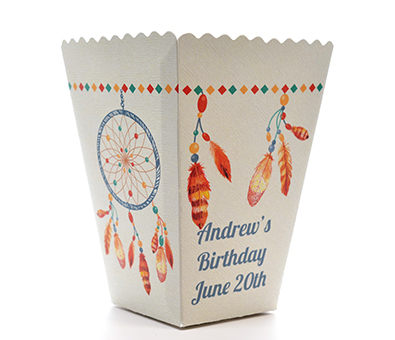 Dream Catcher - Personalized Birthday Party Popcorn Boxes