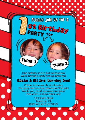 Dr Seuss Inspired Photo Birthday Invitations