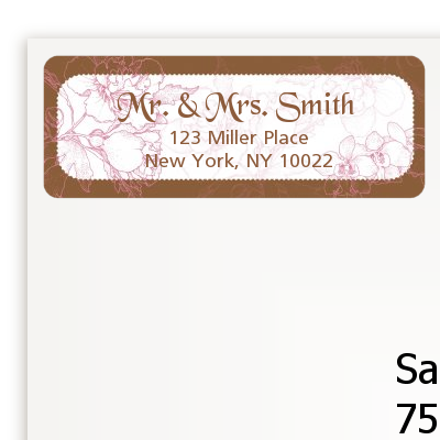 Elegant Flowers - Bridal Shower Return Address Labels