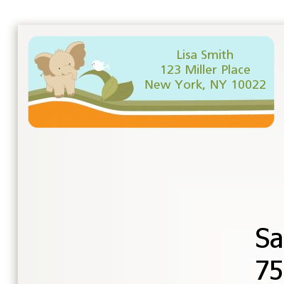 Elephant Baby Neutral - Baby Shower Return Address Labels