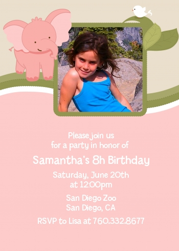 Elephant Pink - Photo Birthday Party Invitations