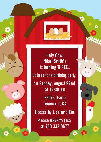 Farm Animals Birthday Party Invitations Candles And Favors
