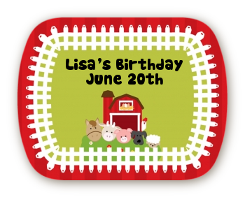 Farm Animals - Personalized Birthday Party Rounded Corner Stickers