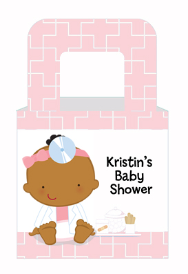 Little Girl Doctor On The Way - Personalized Baby Shower Favor Boxes Caucasian