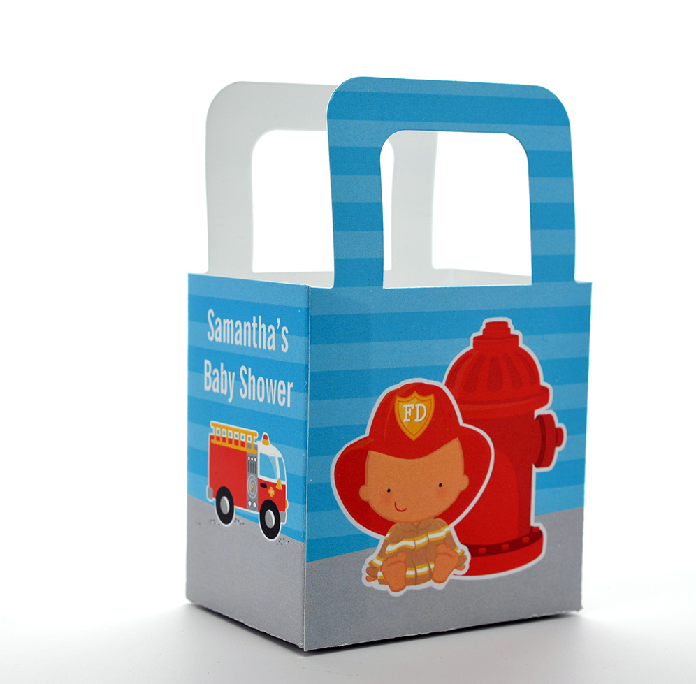 Future Firefighter - Personalized Baby Shower Favor Boxes African American