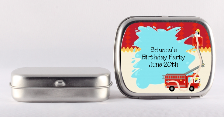 Fire Truck Birthday Party Mint Tin Favors