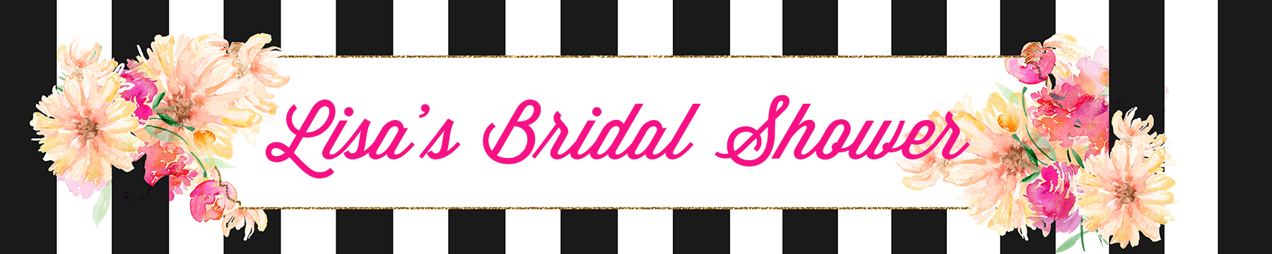 Black and White Stripe Floral Watercolor - Personalized Bridal Shower Banners thumbnail