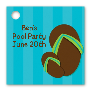 birthday party favor tags flip flops boy pool party favor tags