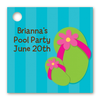 Flip Flops Girl Pool Party - Personalized Birthday Party Card Stock Favor Tags