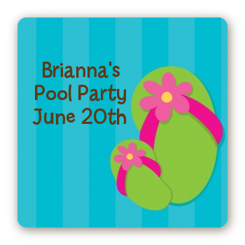 Flip Flops Girl Pool Party - Square Personalized Birthday Party Sticker Labels