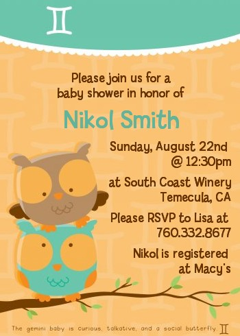 Owls | Gemini Horoscope - Baby Shower Invitations
