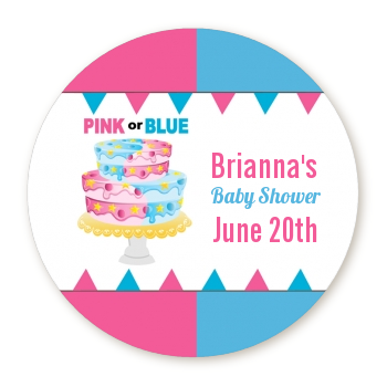 Gender Reveal Cake - Round Personalized Baby Shower Sticker Labels