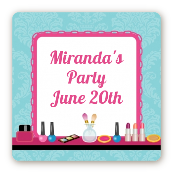Glamour Girl Makeup Party - Square Personalized Birthday Party Sticker Labels