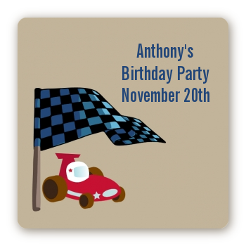Go Kart - Square Personalized Birthday Party Sticker Labels