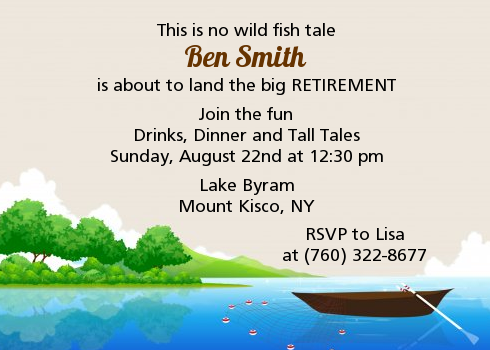 Gone Fishing Retirement Party Invitations | Candles and Favors