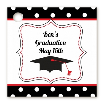 Graduation Cap Black & Red - Personalized Graduation Party Card Stock Favor Tags