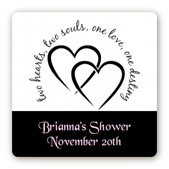 Hearts & Soul - Square Personalized Bridal Shower Sticker Labels