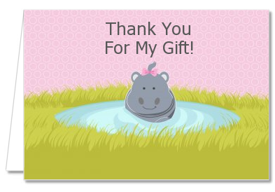 Hippopotamus Girl - Baby Shower Thank You Cards