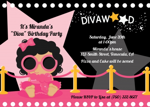 Hollywood Diva on the Pink Carpet Birthday Party Invitations