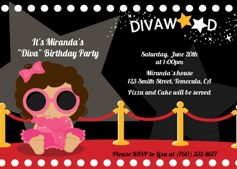 Hollywood Diva on the Red Carpet Birthday Party Invitations – Red Carpet Party Invitation