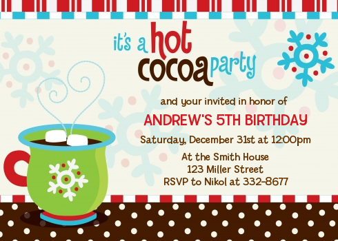 Hot Cocoa Party Christmas Invitations Candles and Favors