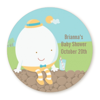 Humpty Dumpty - Round Personalized Baby Shower Sticker Labels
