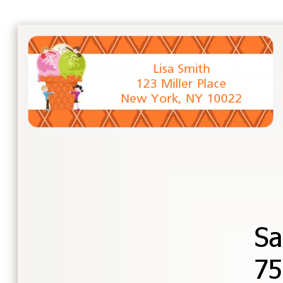 Ice Cream - Birthday Party Return Address Labels
