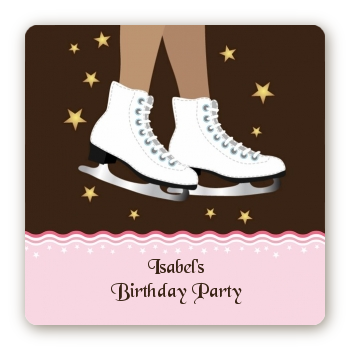 Ice Skating African American - Square Personalized Birthday Party Sticker Labels