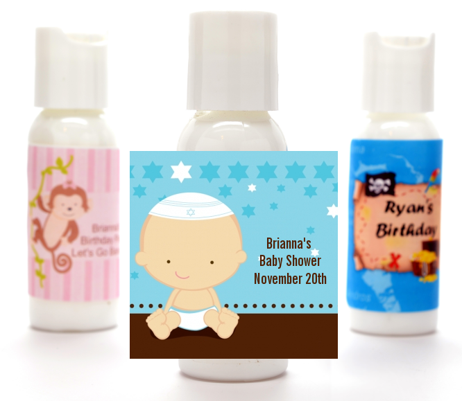 jewish baby boy personalized baby shower lotion favors