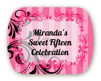 Juicy Couture Inspired - Personalized Birthday Party Rounded Corner Stickers