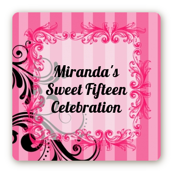 Juicy Couture Inspired - Square Personalized Birthday Party Sticker Labels