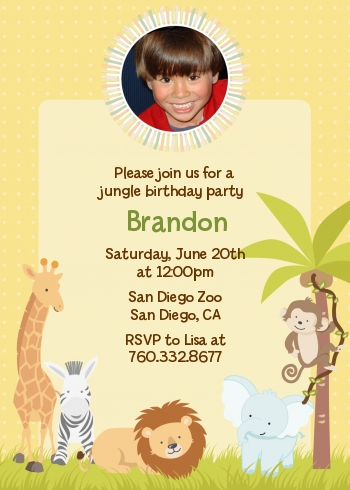 jungle safari party photo birthday party invitations candles favors