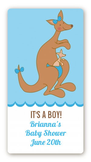 Kangaroo Blue Baby Shower Rectangular Sticker Labels