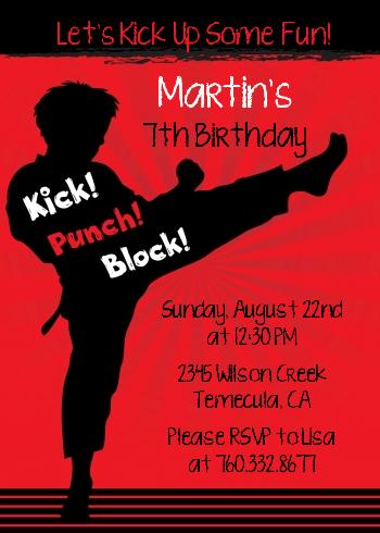 Karate Kid Birthday Party Invitations Candles and Favors