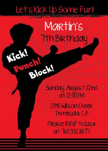 Karate Kid Birthday Party Invitations