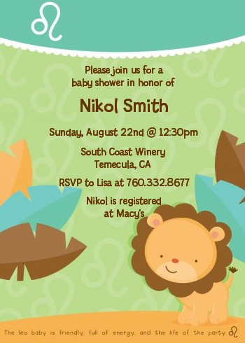 Lion Leo Horoscope Baby Shower Invitations Candles and Favors